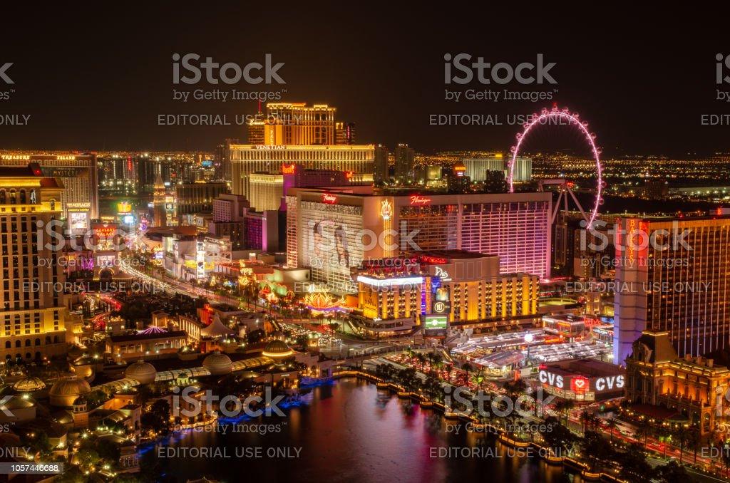 Long exposure of the Las Vegas skyline stock photo