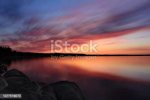 Long exposure of a variety vibrate sunset over Cold Lake, Alberta, Canada