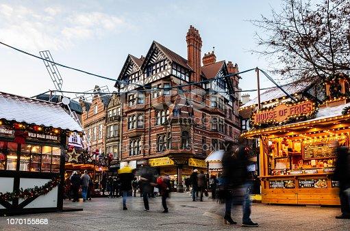 Xmas market in Old Market Square, Nottingham, UK on the 19th November 2019