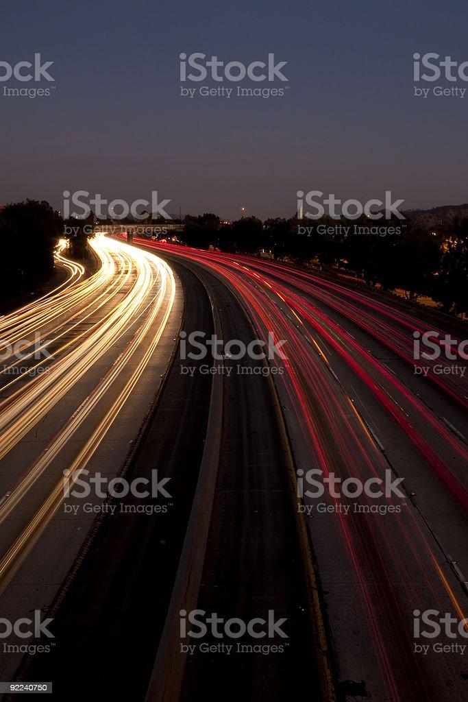 Long Exposure of Traffic at Dusk stock photo