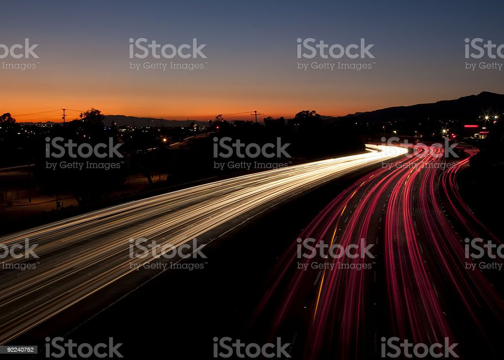 Long Exposure of Traffic at Sunset royalty-free stock photo