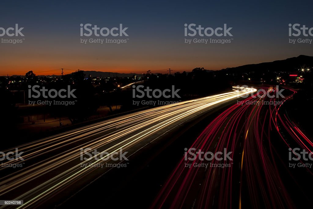 Long Exposure of Traffic at Sunset stock photo