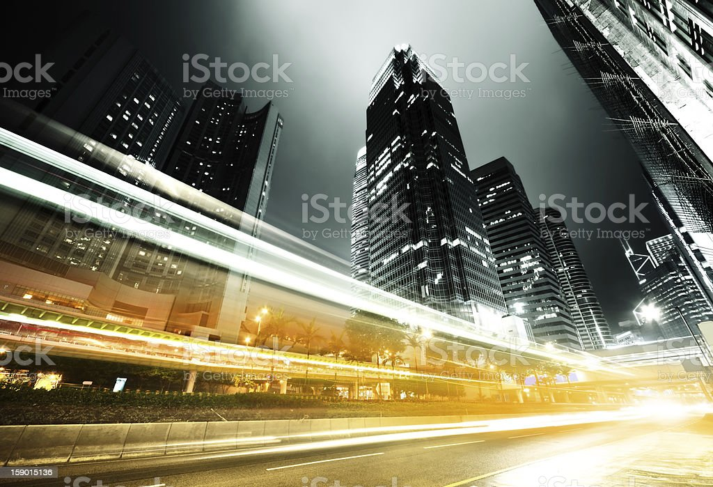 Long exposure of traffic in Hong Kong at night stock photo