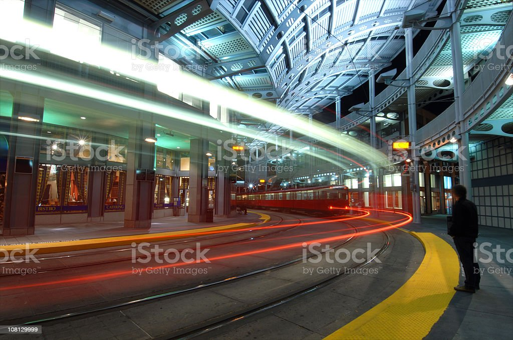 Long Exposure of Train Leaving Station royalty-free stock photo