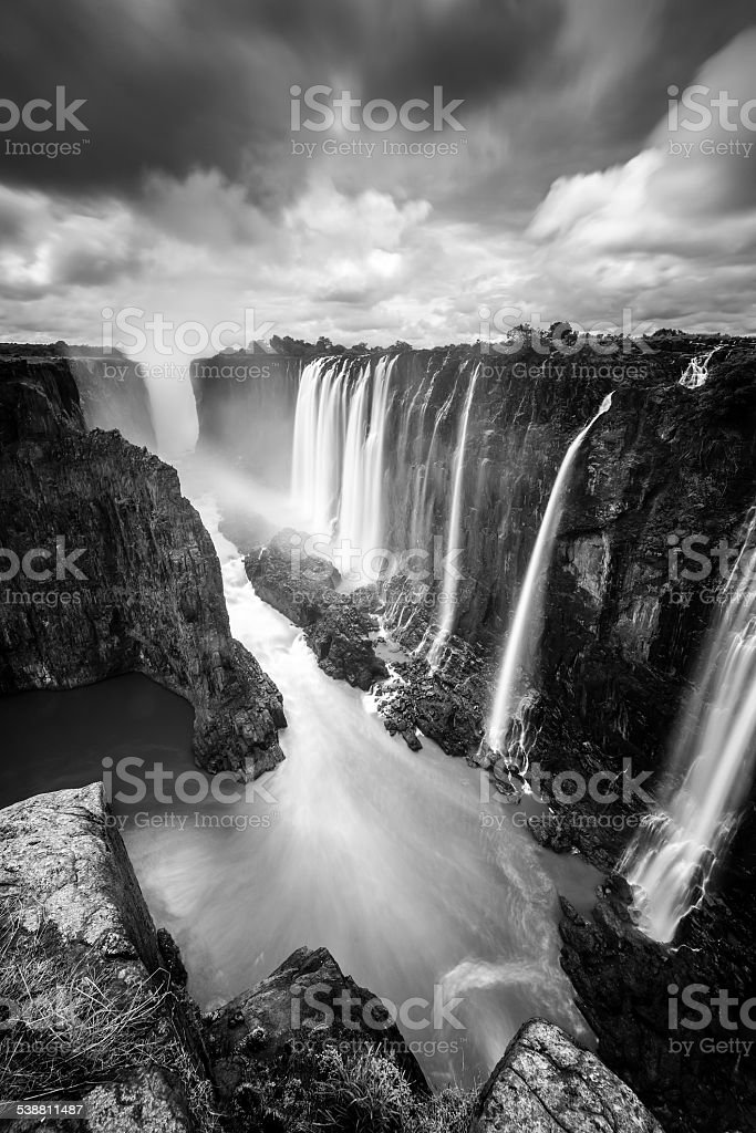 Long exposure of Victoria Falls from Zambia Site stock photo