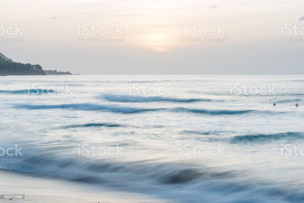 Long Exposure of Waves on the Mediterranean Coast stock photo