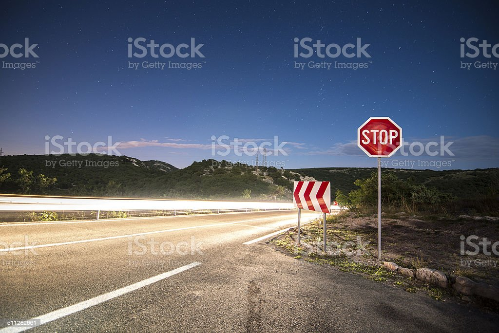 long exposure on road at night stock photo