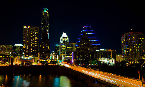 Long Exposure Over Congress Bridge Austin Skyline at Night stock photo