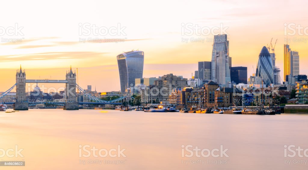 Long exposure, panoramic view of London cityscape at sunset stock photo