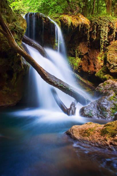 Long exposure photo of beautiful waterfall stock photo