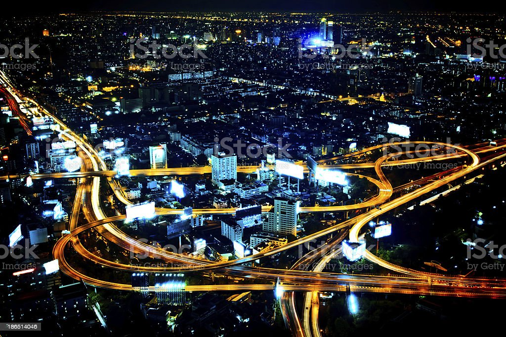 long exposure photo to highway night scene from skyscraper rooft royalty-free stock photo