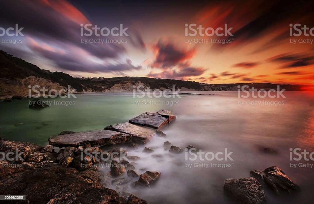Long exposure rocks stock photo