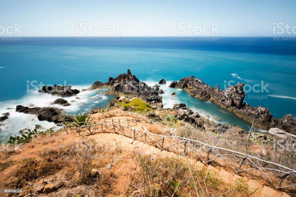 long exposure rocky coastline in Madeira - Royalty-free Abandonado Foto de stock