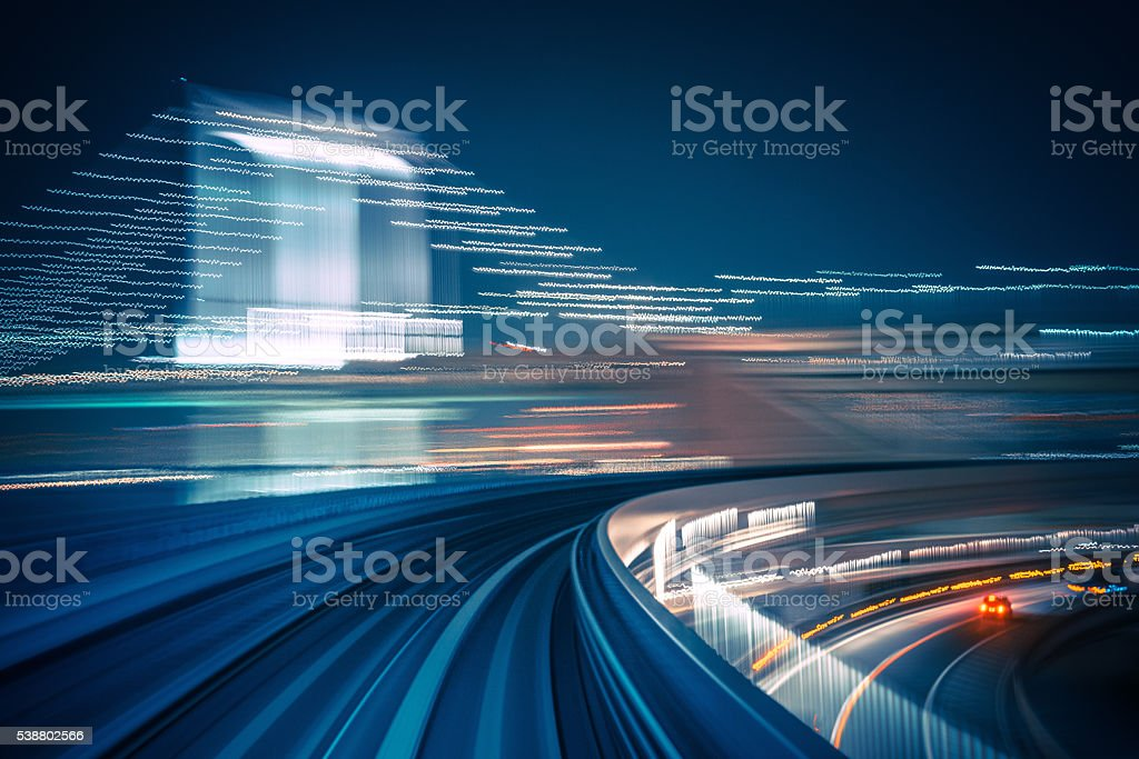Long exposure shot from a moving train stock photo