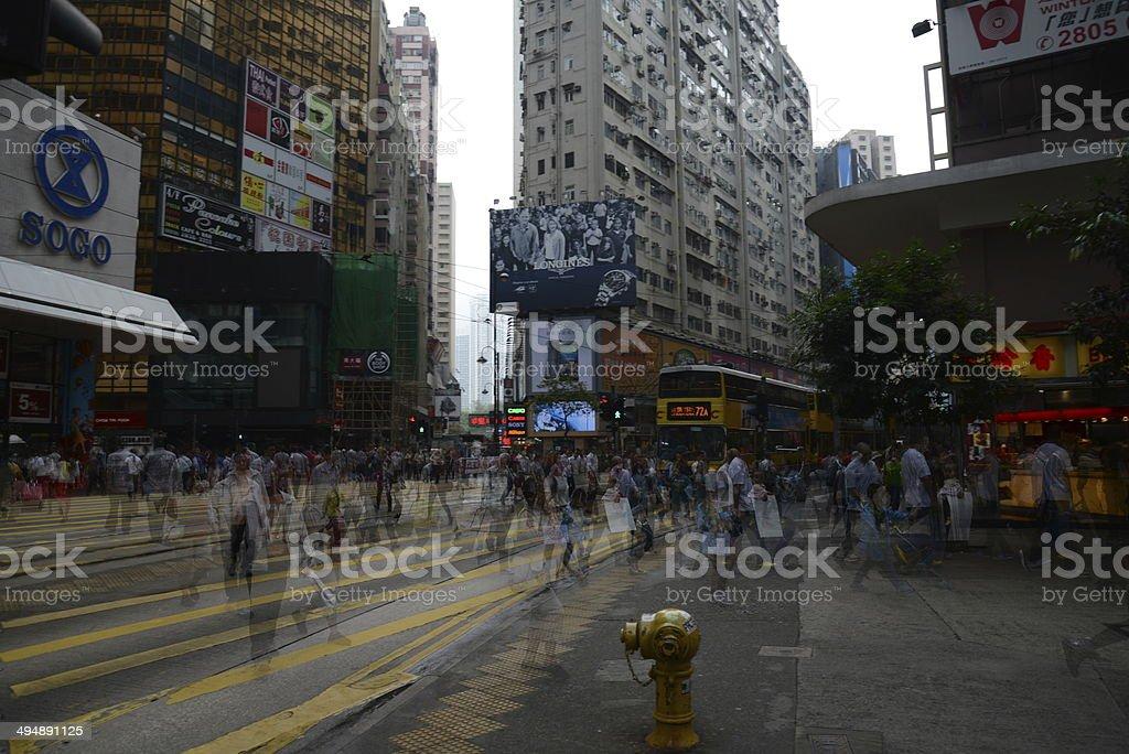 Long Exposure Shot in Causeway Bay, Hong Kong stock photo