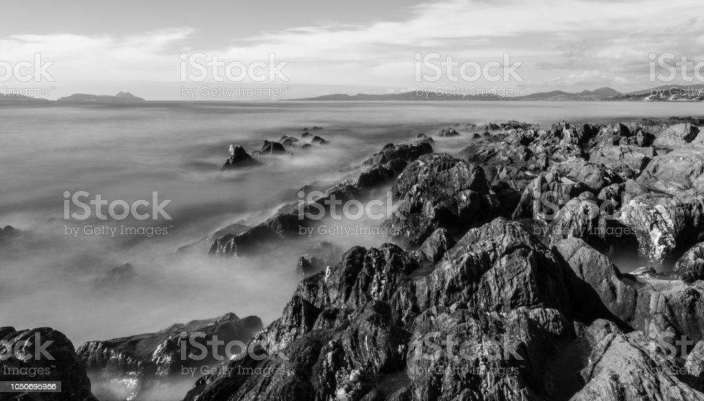 Long exposure shot in Patos, Nigran (Galicia) stock photo
