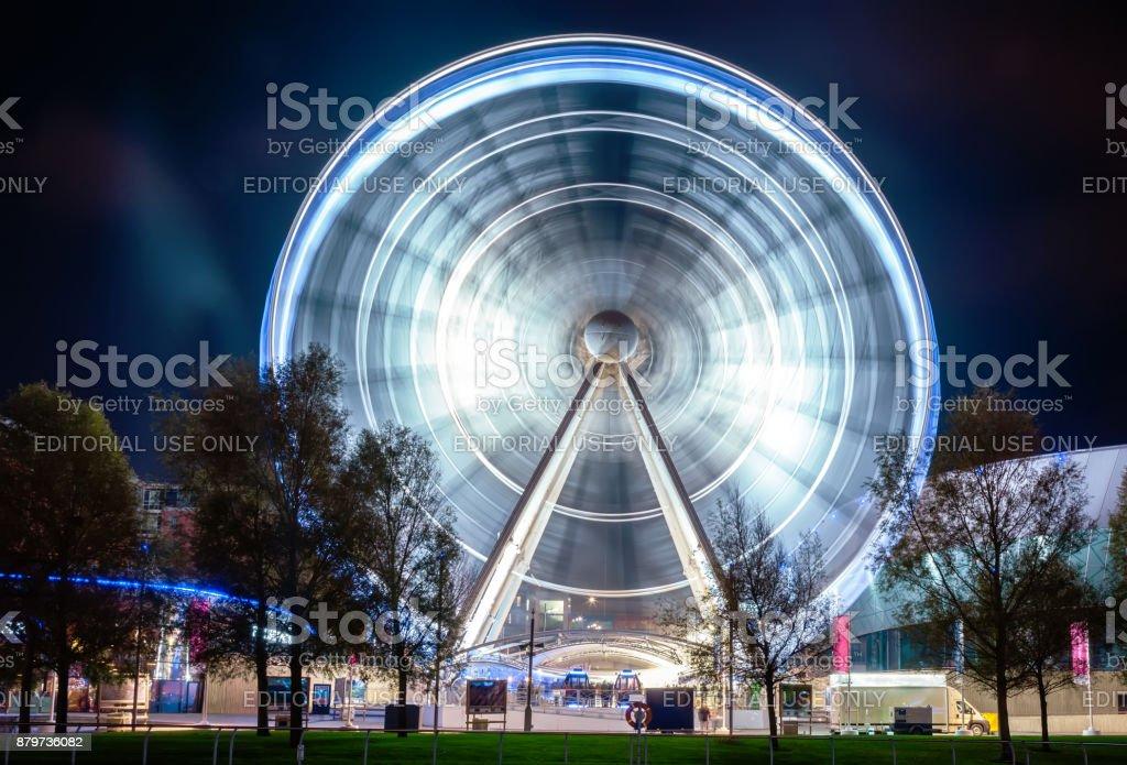Long exposure shot of Ferris Wheel in Liverpool stock photo