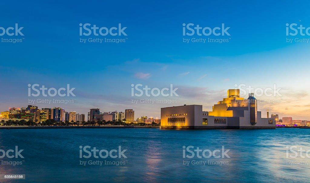 Long Exposure shot of Museum of Islamic Arts -  Doha Qatar stock photo