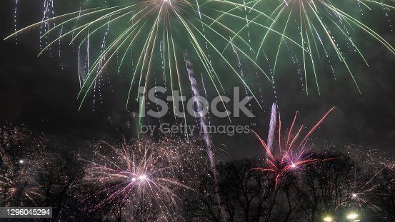 A long exposure showing multiple firework explosions. Fireworks celebration. Photography of a salute shot at long exposure.