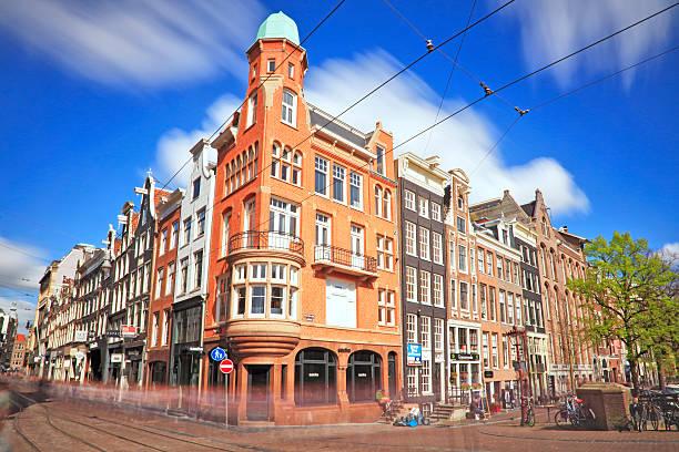 long exposure - street scene, amsterdam, netherlands - feiertage holland 2016 stock-fotos und bilder