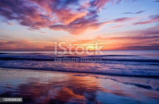 Long camera exposure captures the motion and reflections of the clouds in the wet sand and waves in the sea during a gorgeous sunrise in Myrtle Beach South Carolina.