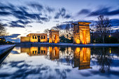 view of ancient egytptian Temple of Debod at dusk in City of Madrid, Spain