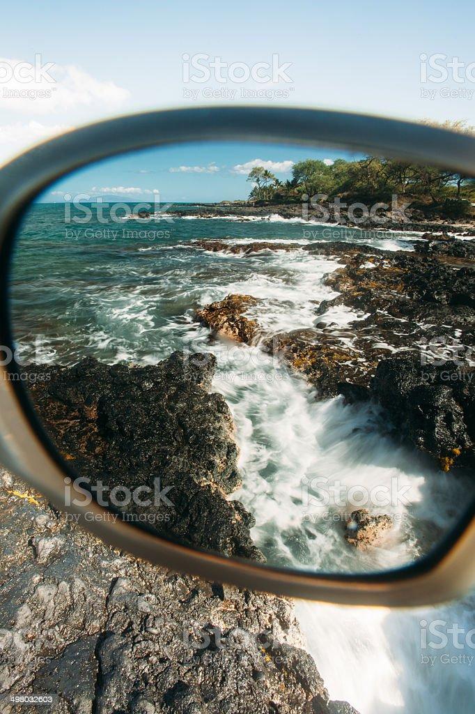 Long Exposure through sunglasses on beach stock photo