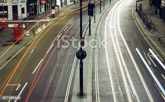 539234032 istock photo Long exposure traffic in central london 627429444
