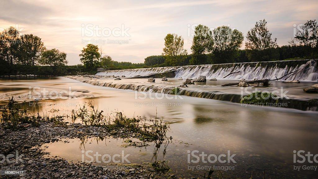 long exposure waterfall at sunset royalty-free stock photo