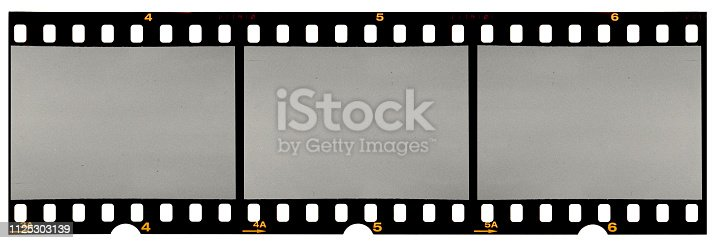 istock long film strip, blank photo frames, free space for your pictures, real high-res 35mm film strip scan with signs of usage on white background 1125303139