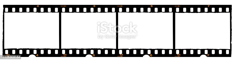 1125303139 istock photo long film strip, blank photo frames, free space for your pictures, real high-res 35mm film strip scan with signs of usage on white background 1125303154