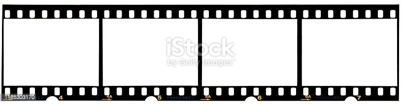 1125303139 istock photo long film strip, blank photo frames, free space for your pictures, real high-res 35mm film strip scan with signs of usage on white background 1125303170