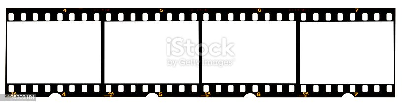 1125303139 istock photo long film strip, blank photo frames, free space for your pictures, real high-res 35mm film strip scan with signs of usage on white background 1125303184