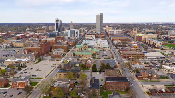 Long Flat Urban City Syline in Fort Wayne Indiana stock photo
