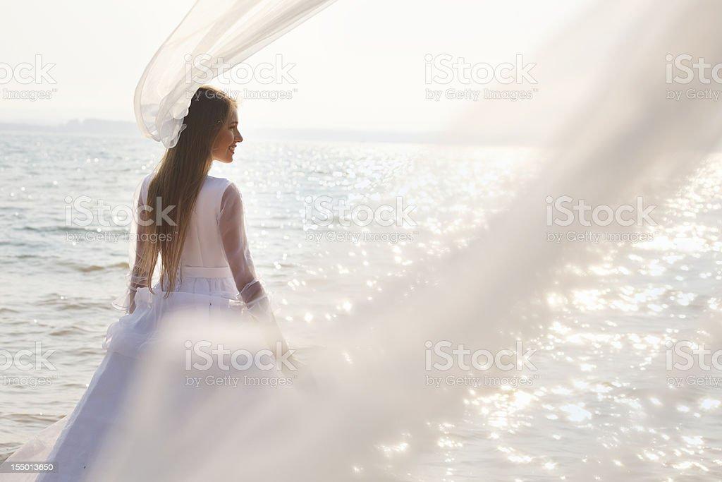Long  flying veil stock photo