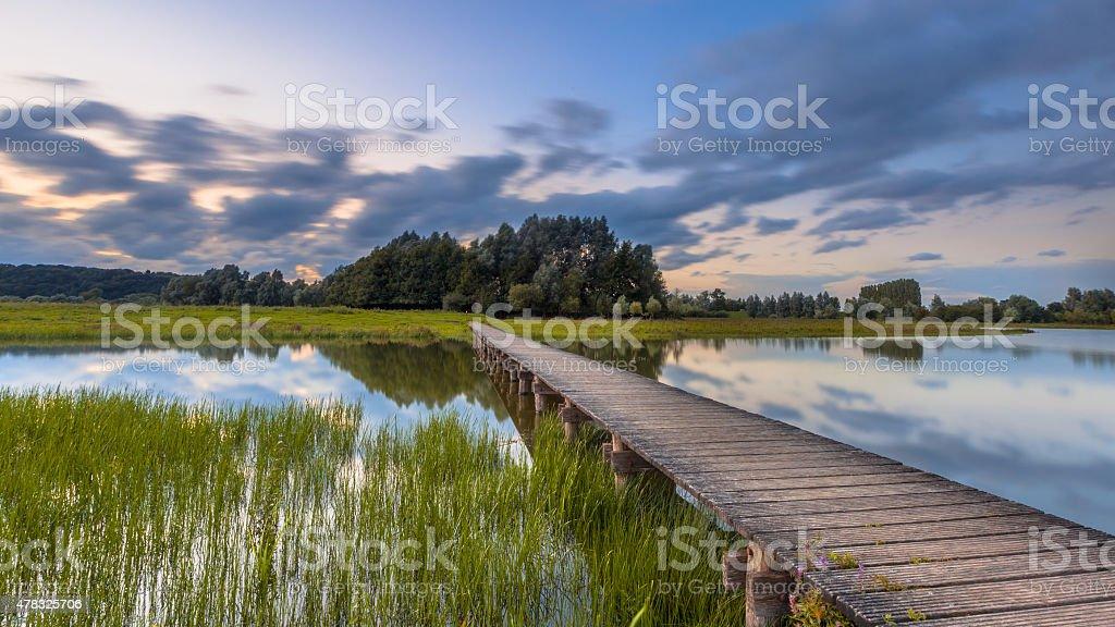 Long footbridge concept stock photo