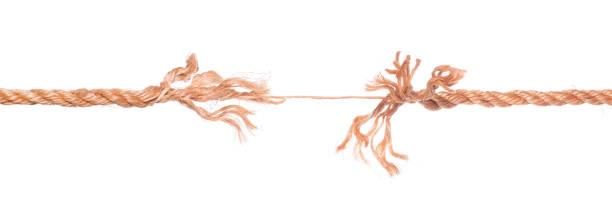 long frayed rope near to break isolated - lina zdjęcia i obrazy z banku zdjęć