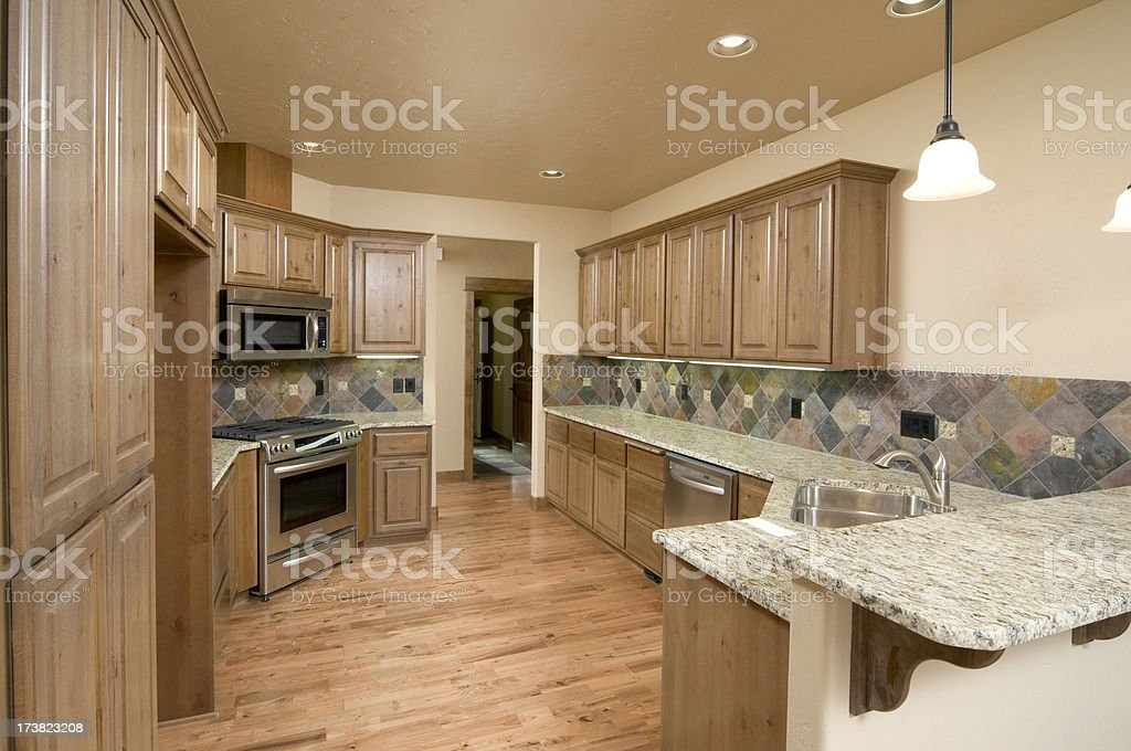 \'Kitchen counters that are long made out of granite, knotted pine...