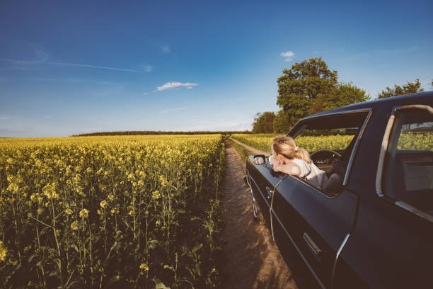 Long hair blonde woman in car, female driver resting stock photo