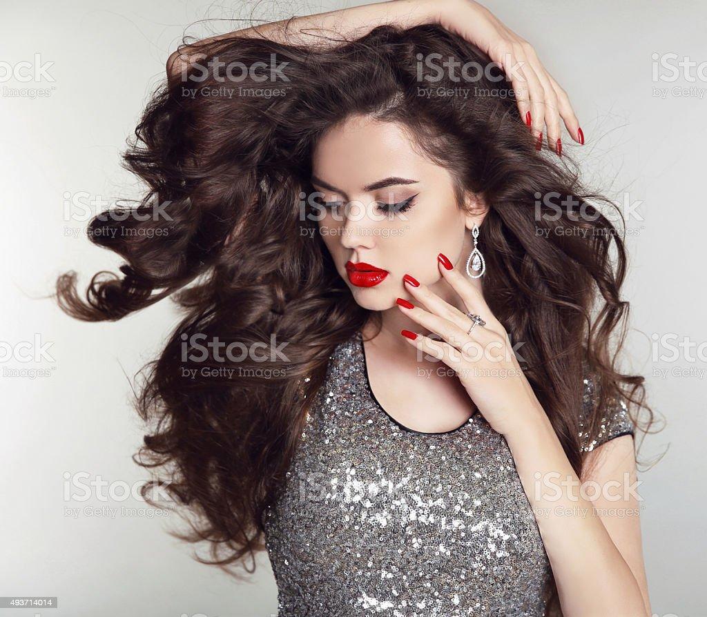 Long Hair Makeup Beautiful Girl Portrait Brunette Fashion Stock ...