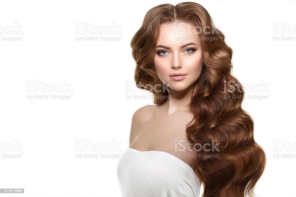 Langes Haar Wellen Locken Frisur Haar Salon Steckfrisur Modemodus
