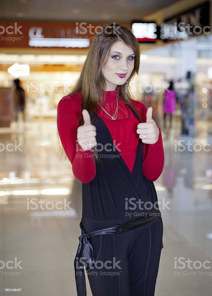 Long haired girl at the mall royalty-free stock photo