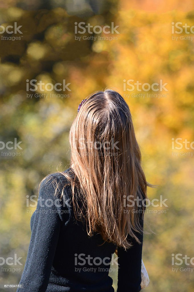 Long haired girl in autumn foto stock royalty-free