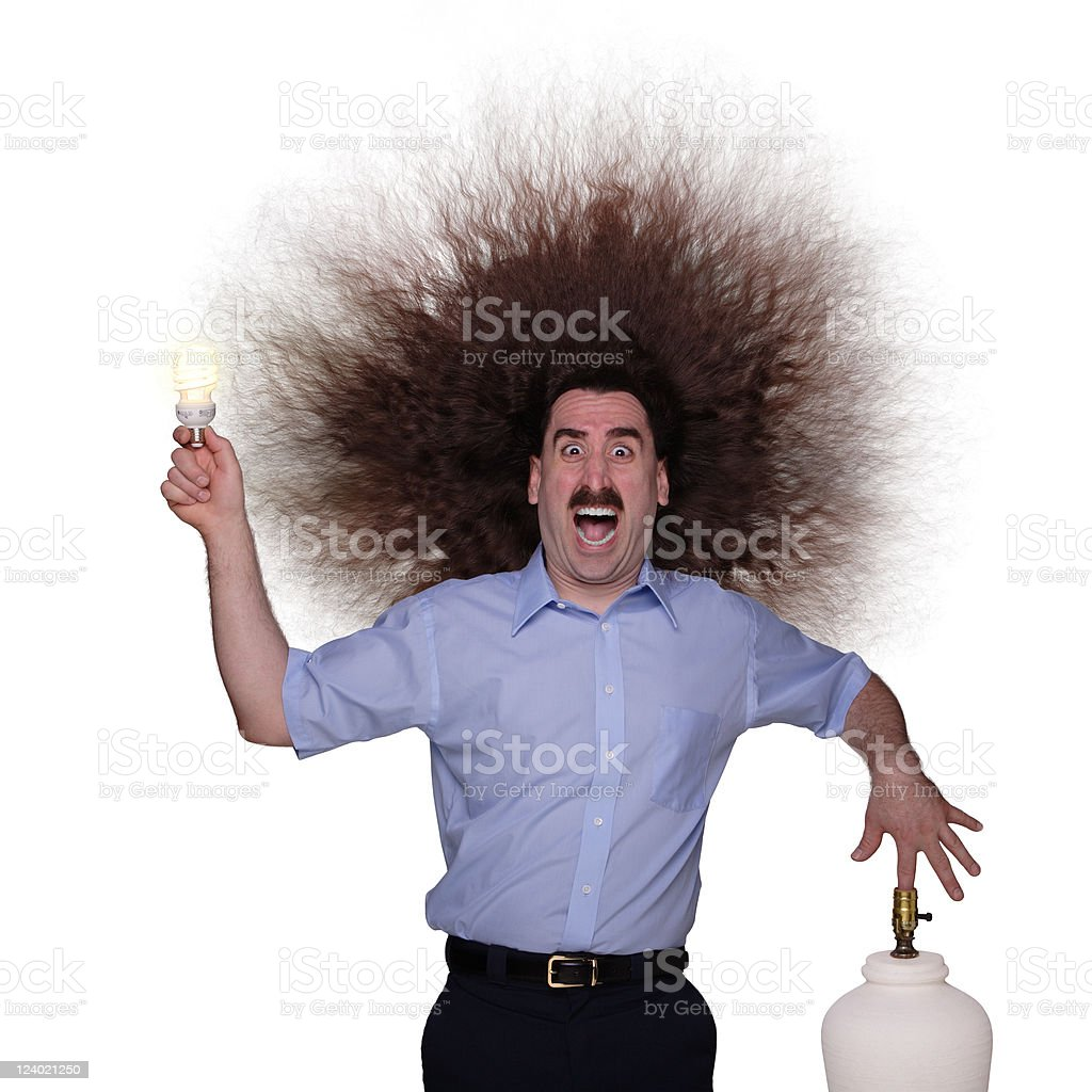 Long Haired Man being electrocuted 1 stock photo