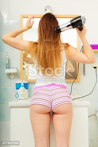 istock long haired woman drying hair in bathroom rear view 477842558