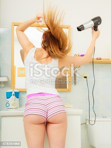 istock long haired woman drying hair in bathroom rear view 478264968