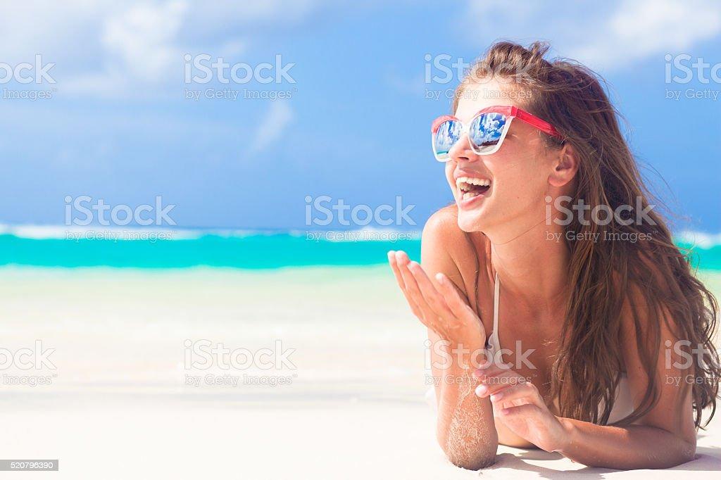 long haired woman in bikini at tropical barbados beach stock photo