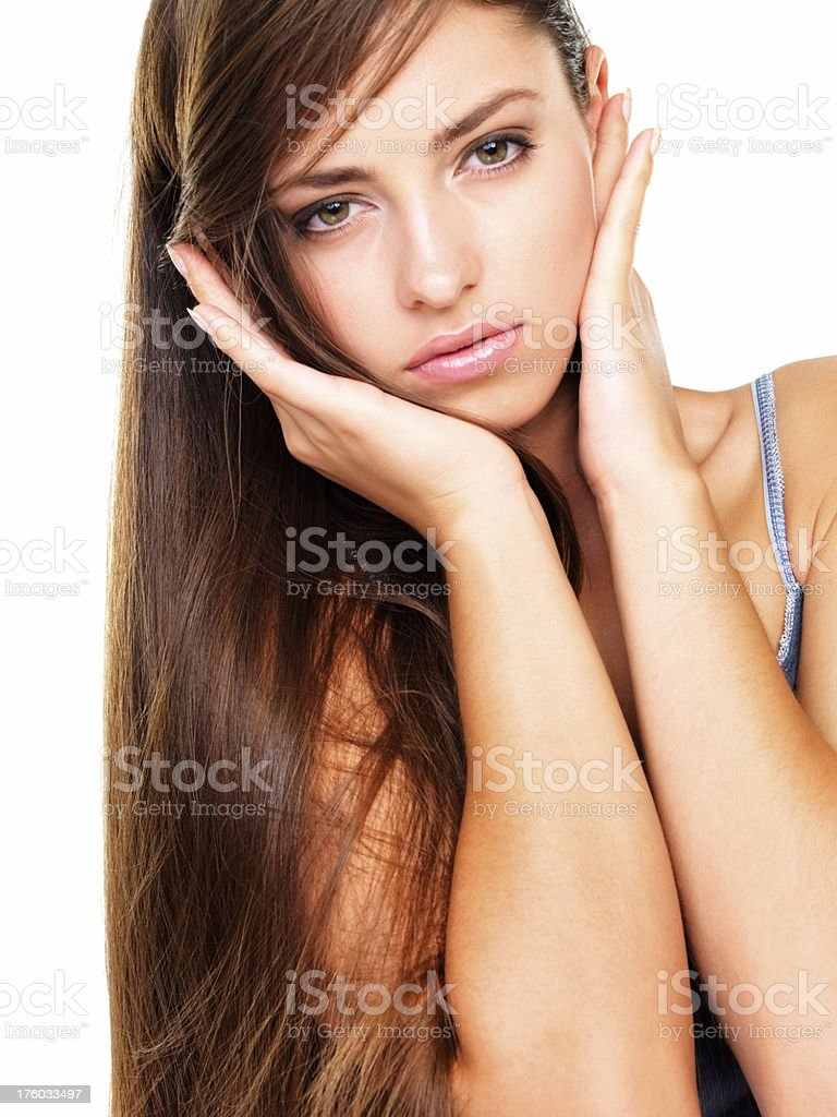 Long haired woman on white background stock photo