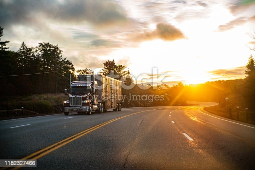 Long Haul Semi Truck on a Rural Canadian Highway