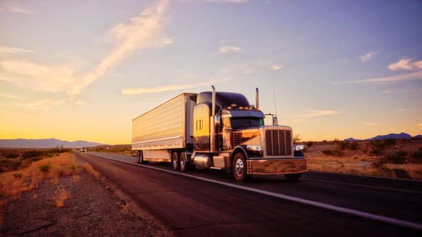 Long Haul Semi Truck On a Rural Western USA Interstate Highway stock photo